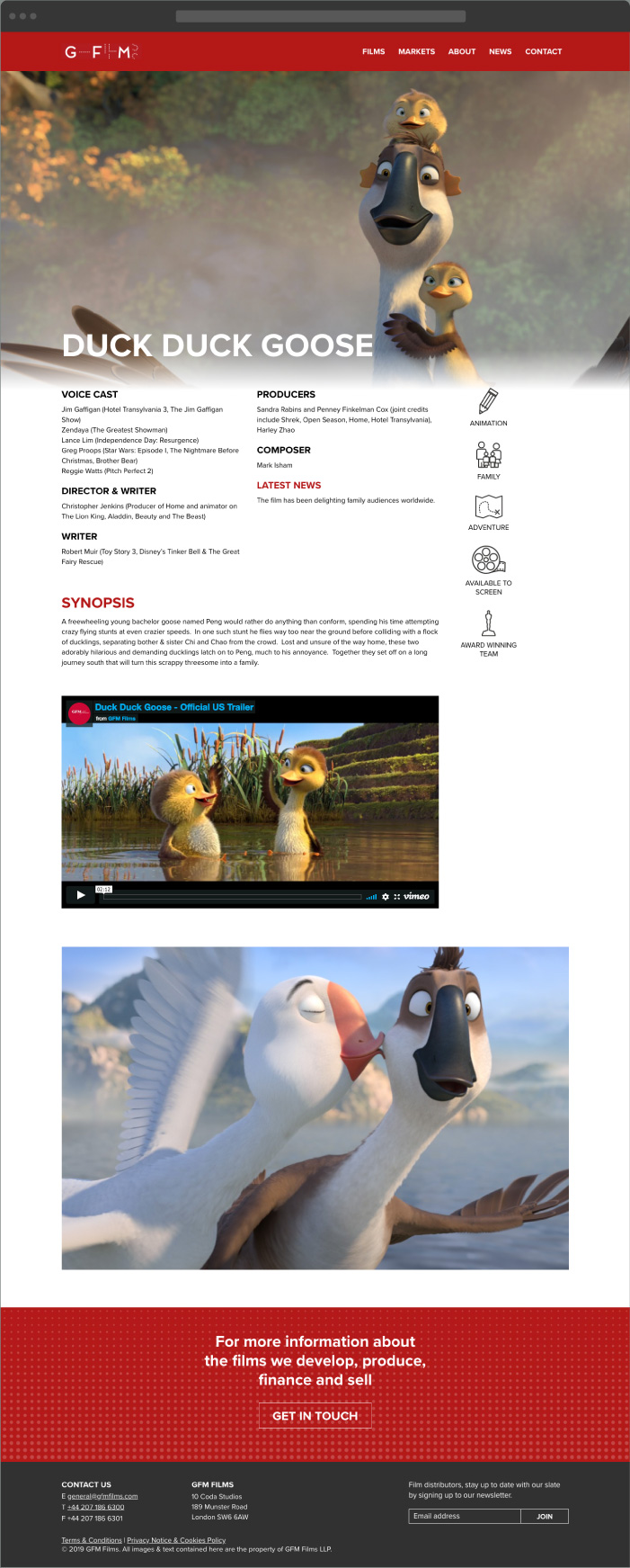 Film Animation Website Design