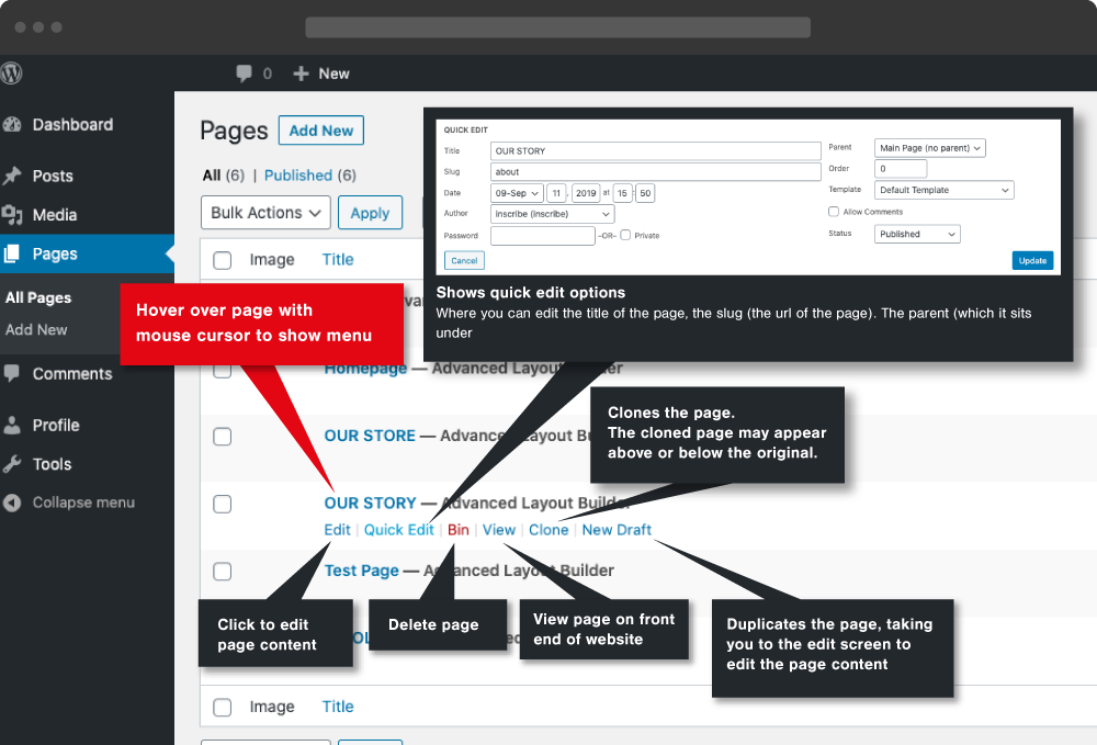 WordPress Hover page/post menu